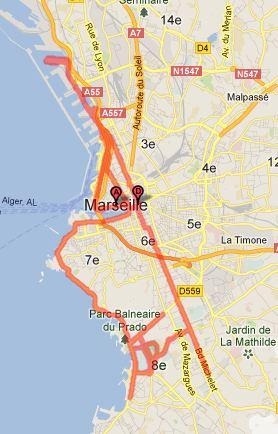 Parcours du marathon de Marseille 2013