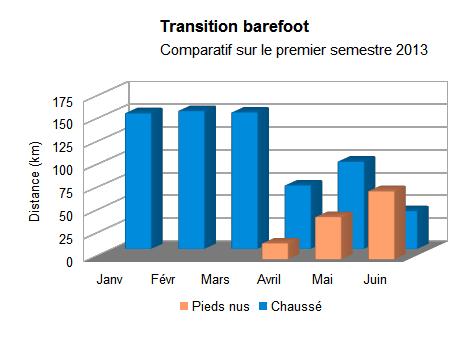 Répartition du kilométrage pieds nus/chaussé mois par mois