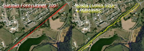 Traces GPS du Garmin Forerunner 305 et du Nokia Lumia 610