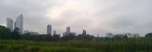 Les tours de Nanterre vues du parc.